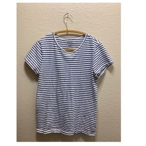 Blue and white striped j Crew shirt